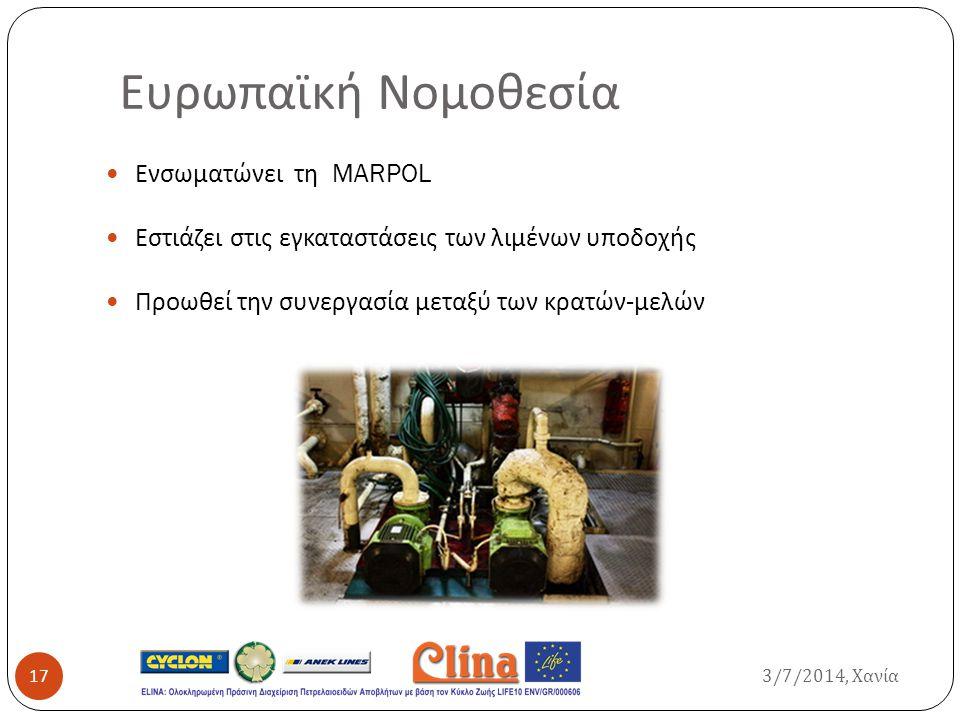 Ευρωπαϊκή Νομοθεσία Ενσωματώνει τη MARPOL Εστιάζει στις εγκαταστάσεις των λιμένων υποδοχής Προωθεί την συνεργασία μεταξύ των κρατών - μελών 3/7/2014,