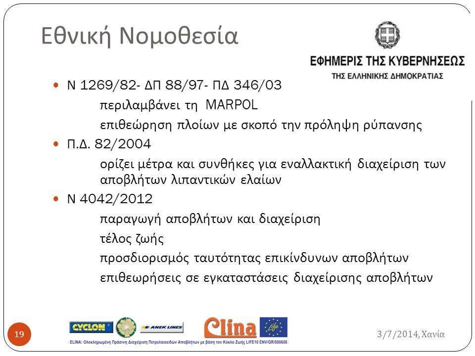 Εθνική Νομοθεσία Ν 1269/82- ΔΠ 88/97- ΠΔ 346/03 περιλαμβάνει τη MARPOL επιθεώρηση πλοίων με σκοπό την πρόληψη ρύπανσης Π. Δ. 82/2004 ορίζει μέτρα και