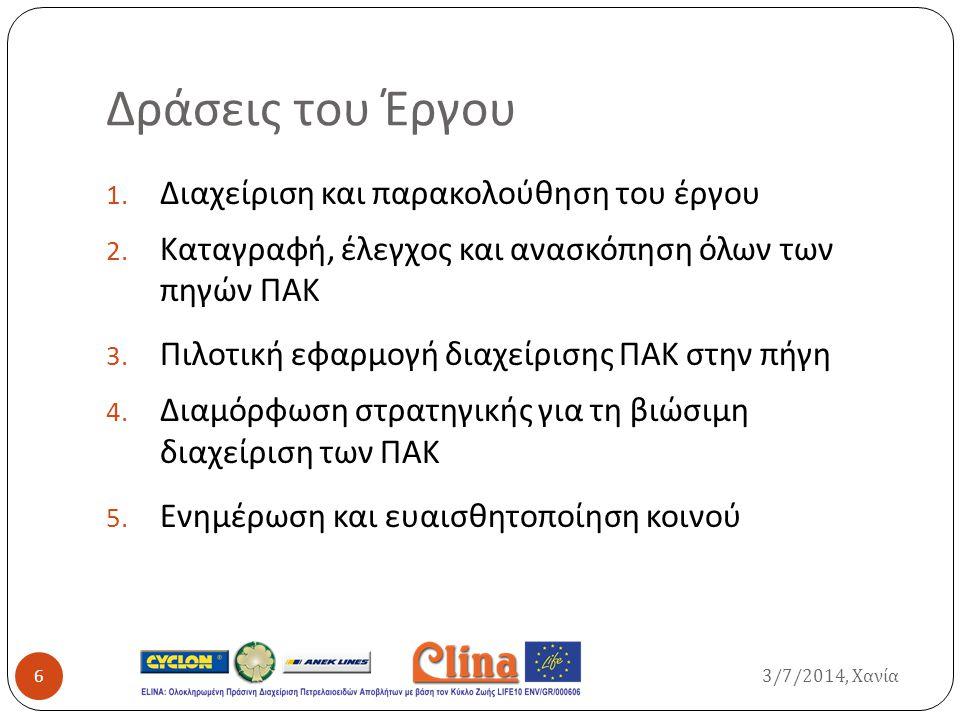Δράσεις του Έργου 1. Διαχείριση και παρακολούθηση του έργου 2. Καταγραφή, έλεγχος και ανασκόπηση όλων των πηγών ΠΑΚ 3. Πιλοτική εφαρμογή διαχείρισης Π