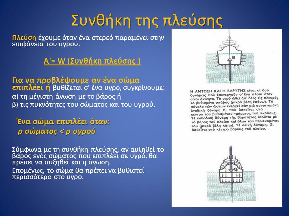 Συνθήκη της πλεύσης Πλεύση Πλεύση έχουμε όταν ένα στερεό παραμένει στην επιφάνεια του υγρού. Α'= W (Συνθήκη πλεύσης ) Για να προβλέψουμε αν ένα σώμα ε