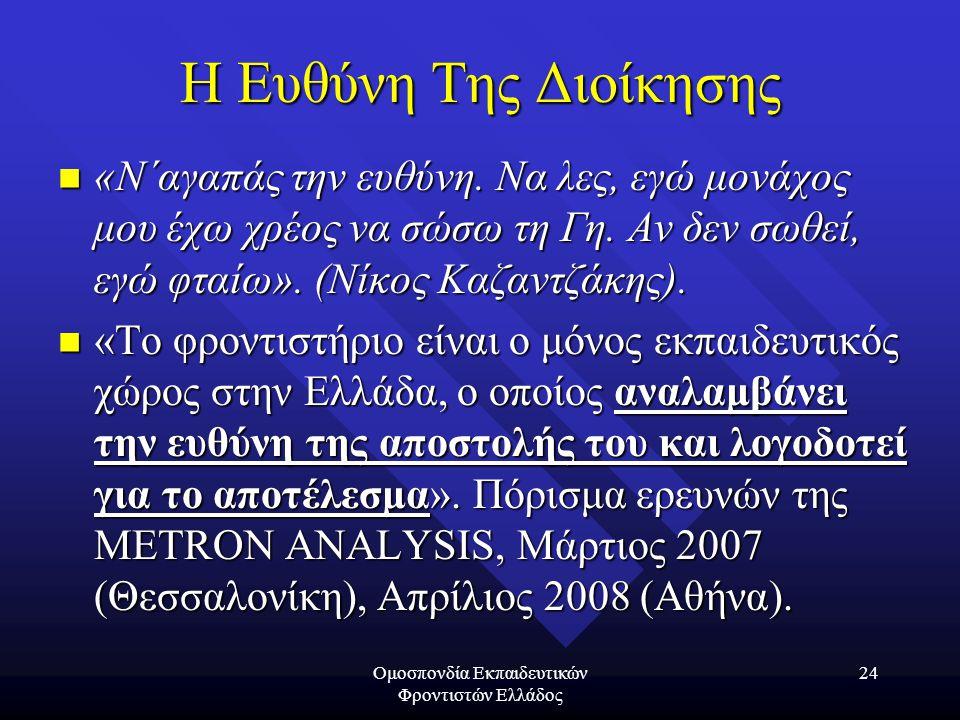 Ομοσπονδία Εκπαιδευτικών Φροντιστών Ελλάδος 24 Η Ευθύνη Της Διοίκησης «Ν΄αγαπάς την ευθύνη. Να λες, εγώ μονάχος μου έχω χρέος να σώσω τη Γη. Αν δεν σω