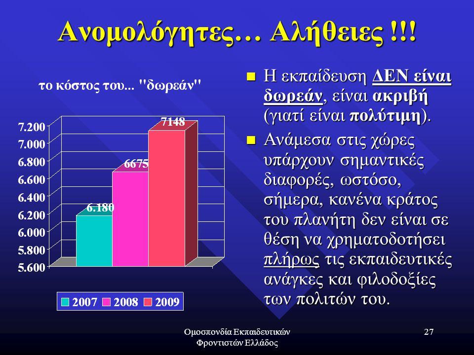 Ομοσπονδία Εκπαιδευτικών Φροντιστών Ελλάδος 27 Ανομολόγητες… Αλήθειες !!! Η εκπαίδευση ΔΕΝ είναι δωρεάν, είναι ακριβή (γιατί είναι πολύτιμη). Ανάμεσα