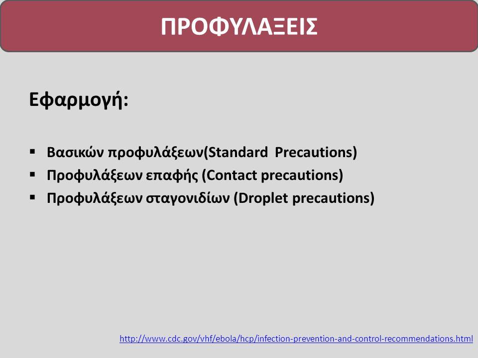 ΠΡΟΦΥΛΑΞΕΙΣ Εφαρμογή:  Βασικών προφυλάξεων(Standard Precautions)  Προφυλάξεων επαφής (Contact precautions)  Προφυλάξεων σταγονιδίων (Droplet precautions) http://www.cdc.gov/vhf/ebola/hcp/infection-prevention-and-control-recommendations.html