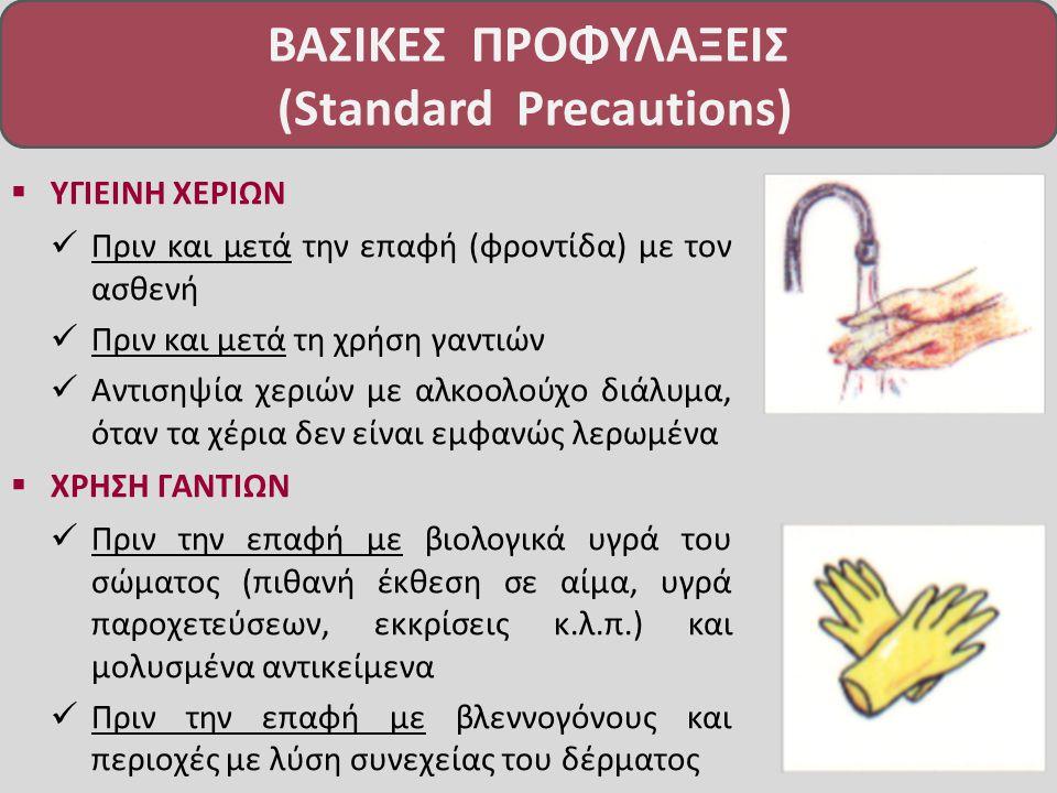  ΥΓΙΕΙΝΗ ΧΕΡΙΩΝ Πριν και μετά την επαφή (φροντίδα) με τον ασθενή Πριν και μετά τη χρήση γαντιών Αντισηψία χεριών με αλκοολούχο διάλυμα, όταν τα χέρια δεν είναι εμφανώς λερωμένα  ΧΡΗΣΗ ΓΑΝΤΙΩΝ Πριν την επαφή με βιολογικά υγρά του σώματος (πιθανή έκθεση σε αίμα, υγρά παροχετεύσεων, εκκρίσεις κ.λ.π.) και μολυσμένα αντικείμενα Πριν την επαφή με βλεννογόνους και περιοχές με λύση συνεχείας του δέρματος ΒΑΣΙΚΕΣ ΠΡΟΦΥΛΑΞΕΙΣ (Standard Precautions)