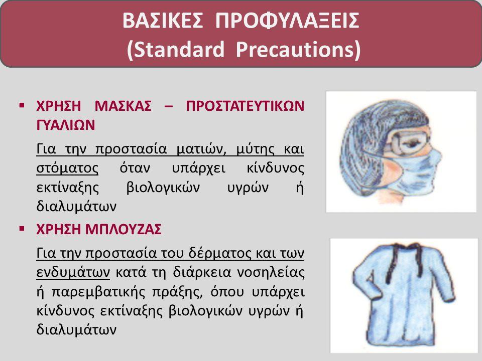  ΧΡΗΣΗ ΜΑΣΚΑΣ – ΠΡΟΣΤΑΤΕΥΤΙΚΩΝ ΓΥΑΛΙΩΝ Για την προστασία ματιών, μύτης και στόματος όταν υπάρχει κίνδυνος εκτίναξης βιολογικών υγρών ή διαλυμάτων  ΧΡΗΣΗ ΜΠΛΟΥΖΑΣ Για την προστασία του δέρματος και των ενδυμάτων κατά τη διάρκεια νοσηλείας ή παρεμβατικής πράξης, όπου υπάρχει κίνδυνος εκτίναξης βιολογικών υγρών ή διαλυμάτων ΒΑΣΙΚΕΣ ΠΡΟΦΥΛΑΞΕΙΣ (Standard Precautions)