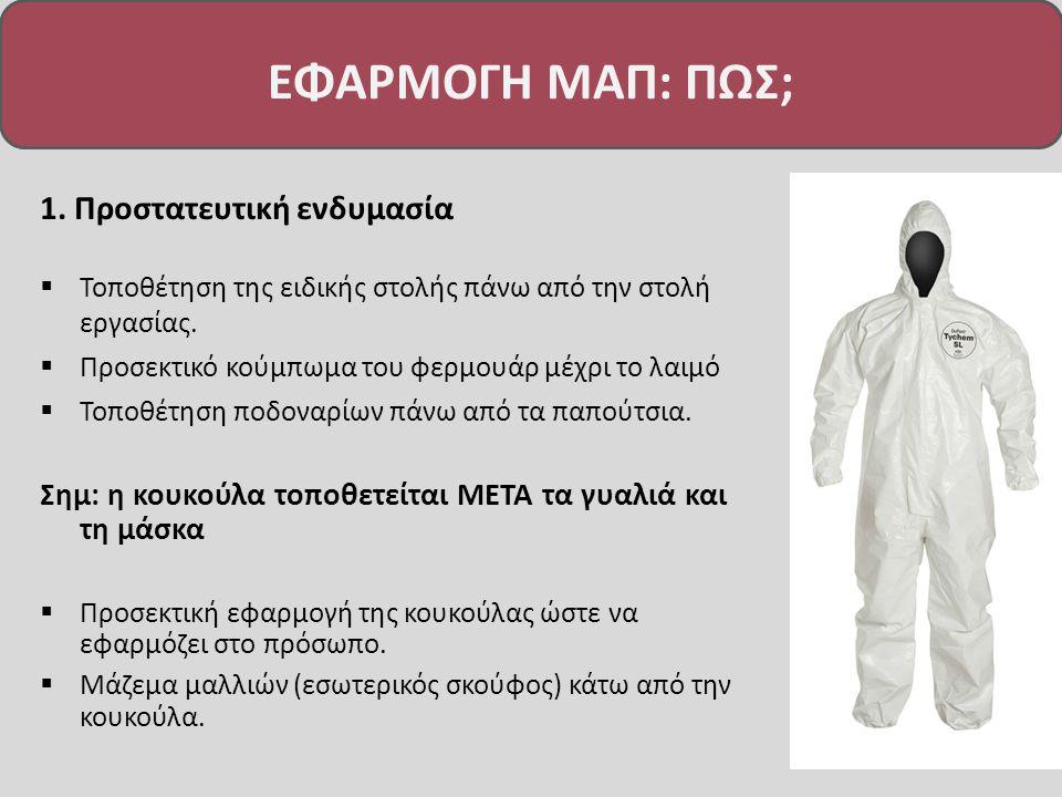 1.Προστατευτική ενδυμασία  Τοποθέτηση της ειδικής στολής πάνω από την στολή εργασίας.