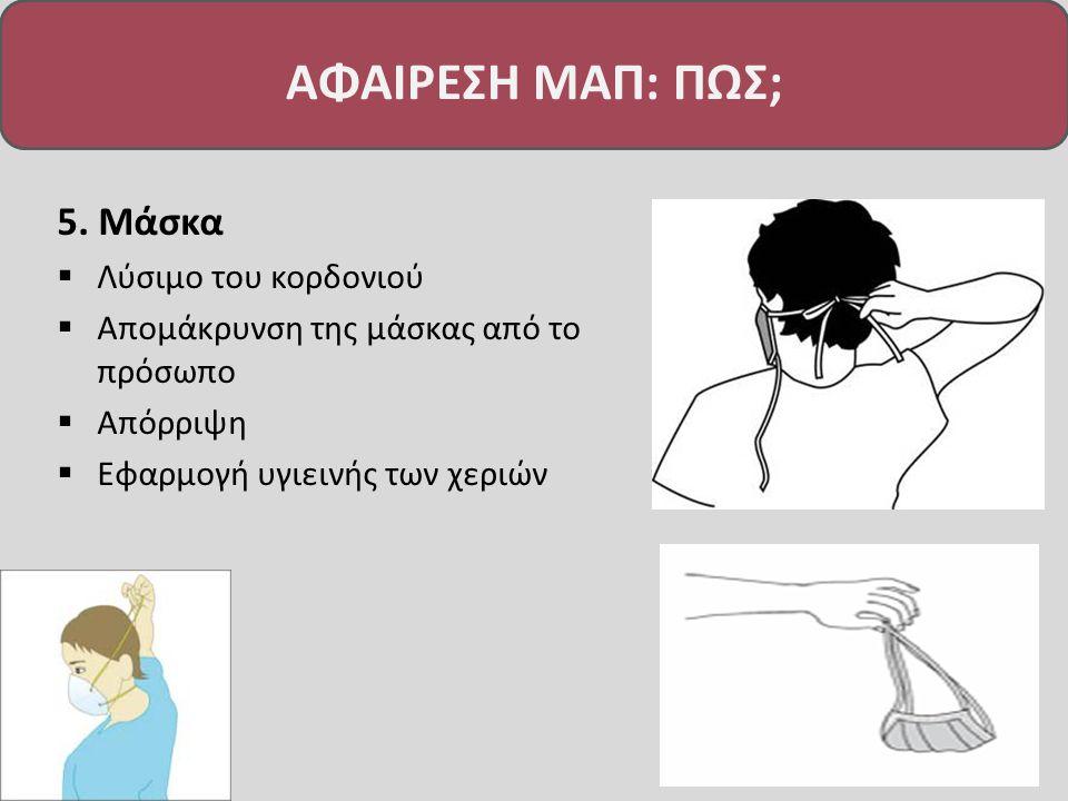 5. Μάσκα  Λύσιμο του κορδονιού  Απομάκρυνση της μάσκας από το πρόσωπο  Απόρριψη  Εφαρμογή υγιεινής των χεριών ΑΦΑΙΡΕΣΗ ΜΑΠ: ΠΩΣ;