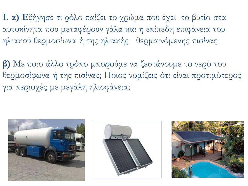 1. α) Εξήγησε τι ρόλο παίζει το χρώμα που έχει το βυτίο στα αυτοκίνητα που μεταφέρουν γάλα και η επίπεδη επιφάνεια του ηλιακού θερμοσίωνα ή της ηλιακή