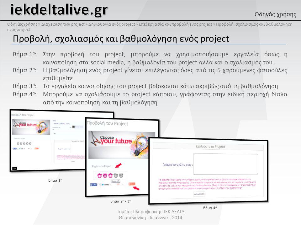 Προβολή, σχολιασμός και βαθμολόγηση ενός project Βήμα 1 ο :Στην προβολή του project, μπορούμε να χρησιμοποιήσουμε εργαλεία όπως η κοινοποίηση στα social media, η βαθμολογία του project αλλά και ο σχολιασμός του.