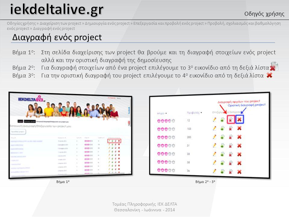 Διαγραφή ενός project Βήμα 1 ο :Στη σελίδα διαχείρισης των project θα βρούμε και τη διαγραφή στοιχείων ενός project αλλά και την οριστική διαγραφή της δημοσίευσης Βήμα 2 ο :Για διαγραφή στοιχείων από ένα project επιλέγουμε το 3 ο εικονίδιο από τη δεξιά λίστα Βήμα 3 ο :Για την οριστική διαγραφή του project επιλέγουμε το 4 ο εικονίδιο από τη δεξιά λίστα Βήμα 1 ο Βήμα 2 ο - 3 ο Οδηγός χρήσης Τομέας Πληροφορικής ΙΕΚ ΔΕΛΤΑ Θεσσαλονίκη - Ιωάννινα - 2014 Οδηγίες χρήσης » Διαχείριση των project » Δημιουργία ενός project » Επεξεργασία και προβολή ενός project » Προβολή, σχολιασμός και βαθμολόγηση ενός project » Διαγραφή ενός project