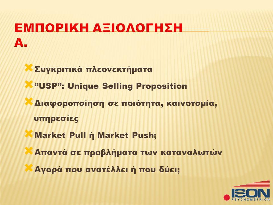  Συγκριτικά πλεονεκτήματα  USP : Unique Selling Proposition  Διαφοροποίηση σε ποιότητα, καινοτομία, υπηρεσίες  Market Pull ή Market Push;  Απαντά σε προβλήματα των καταναλωτών  Αγορά που ανατέλλει ή που δύει;