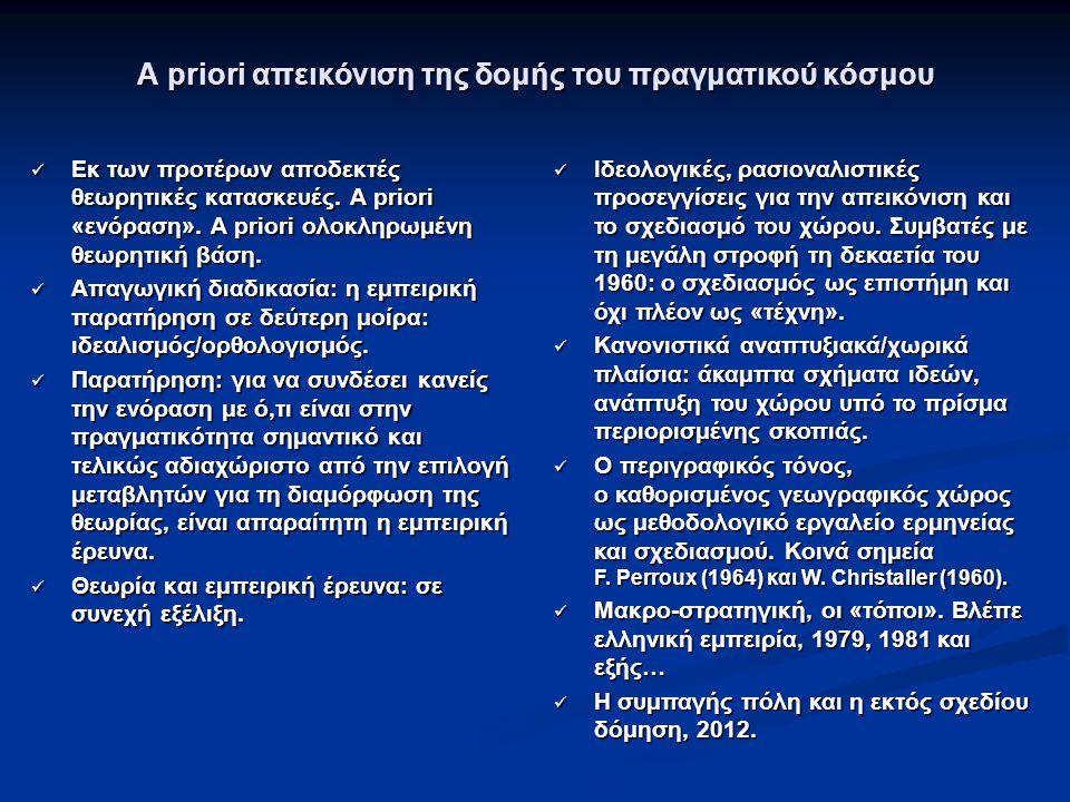 A priori απεικόνιση της δομής του πραγματικού κόσμου Εκ των προτέρων αποδεκτές θεωρητικές κατασκευές. A priori «ενόραση». A priori ολοκληρωμένη θεωρητ