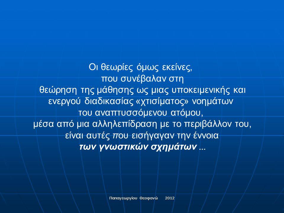 Παπαγεωργίου Θεοφανώ 2012 Η δόμηση της γνώσης είναι μια λειτουργία που βασίζεται στις προϋπάρχουσες εμπειρίες, τις νοητικές κατασκευές, τις πεποιθήσει