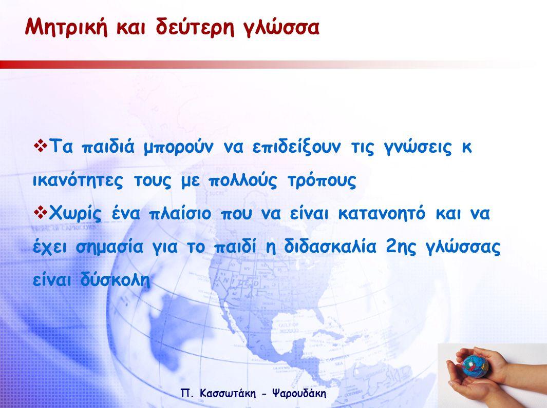 Π. Κασσωτάκη - Ψαρουδάκη Μητρική και δεύτερη γλώσσα  Τα παιδιά μπορούν να επιδείξουν τις γνώσεις κ ικανότητες τους με πολλούς τρόπους  Χωρίς ένα πλα