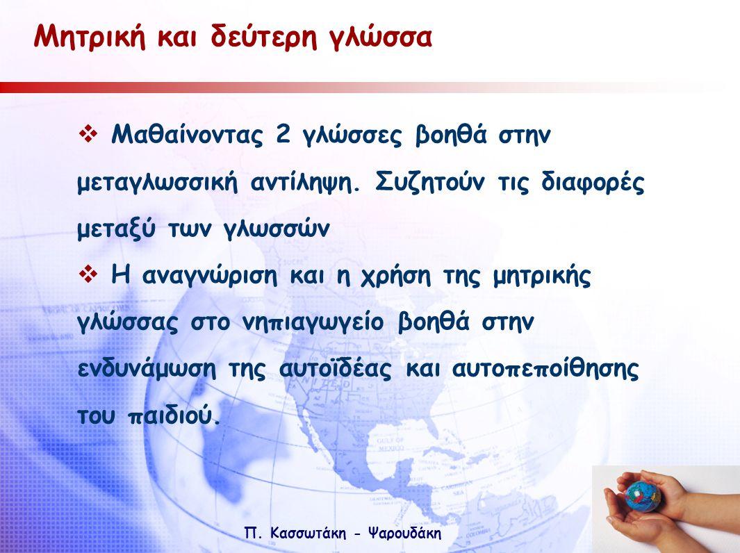 Π. Κασσωτάκη - Ψαρουδάκη Μητρική και δεύτερη γλώσσα  Μαθαίνοντας 2 γλώσσες βοηθά στην μεταγλωσσική αντίληψη. Συζητούν τις διαφορές μεταξύ των γλωσσών