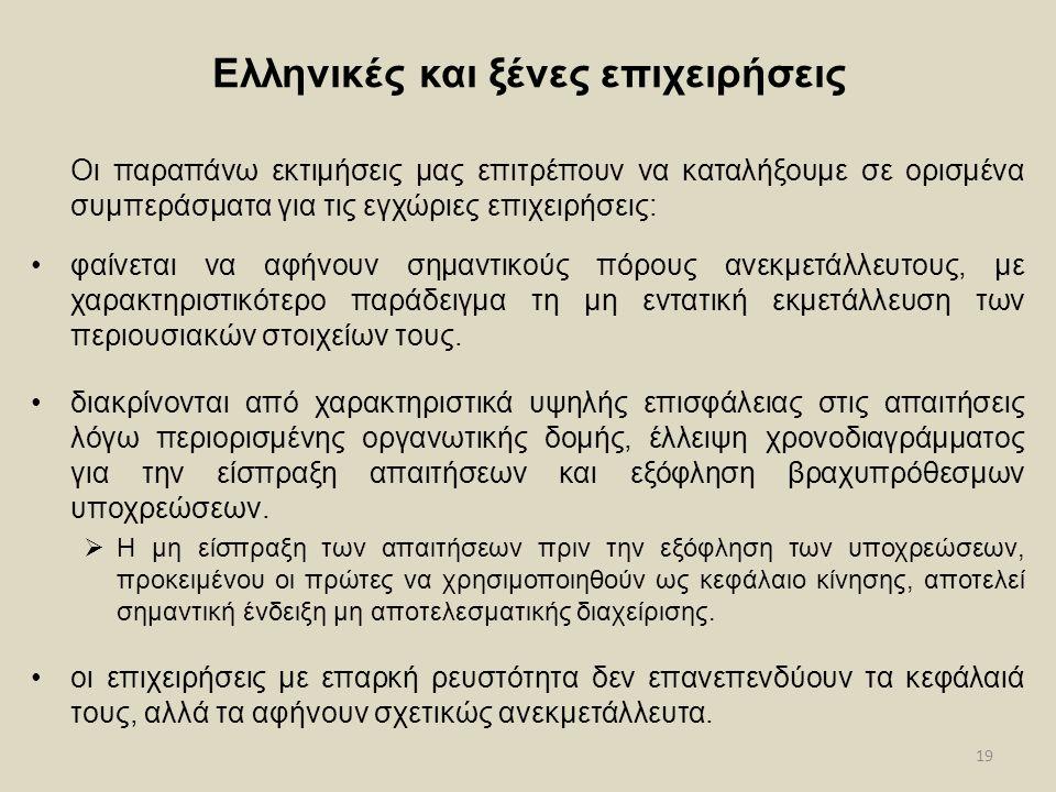 19 Ελληνικές και ξένες επιχειρήσεις Οι παραπάνω εκτιμήσεις μας επιτρέπουν να καταλήξουμε σε ορισμένα συμπεράσματα για τις εγχώριες επιχειρήσεις: φαίνε