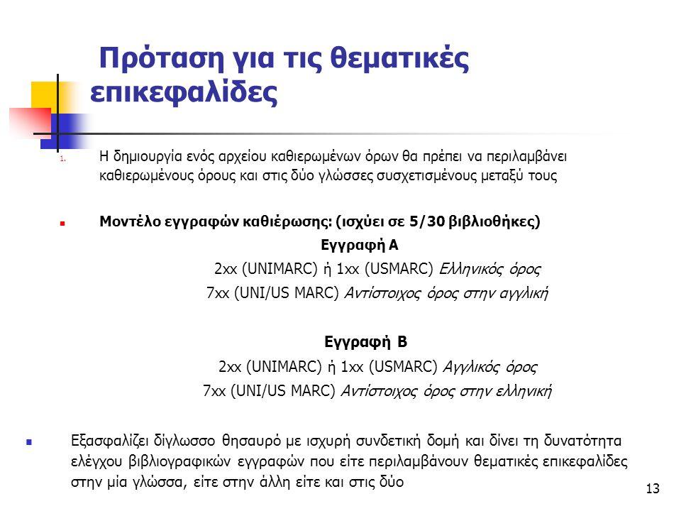 13 Πρόταση για τις θεματικές επικεφαλίδες 1. Η δημιουργία ενός αρχείου καθιερωμένων όρων θα πρέπει να περιλαμβάνει καθιερωμένους όρους και στις δύο γλ