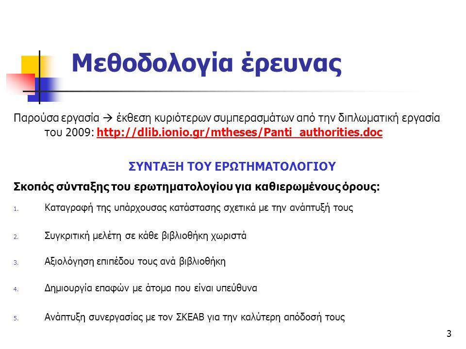 3 Μεθοδολογία έρευνας Παρούσα εργασία  έκθεση κυριότερων συμπερασμάτων από την διπλωματική εργασία του 2009: http://dlib.ionio.gr/mtheses/Panti_autho