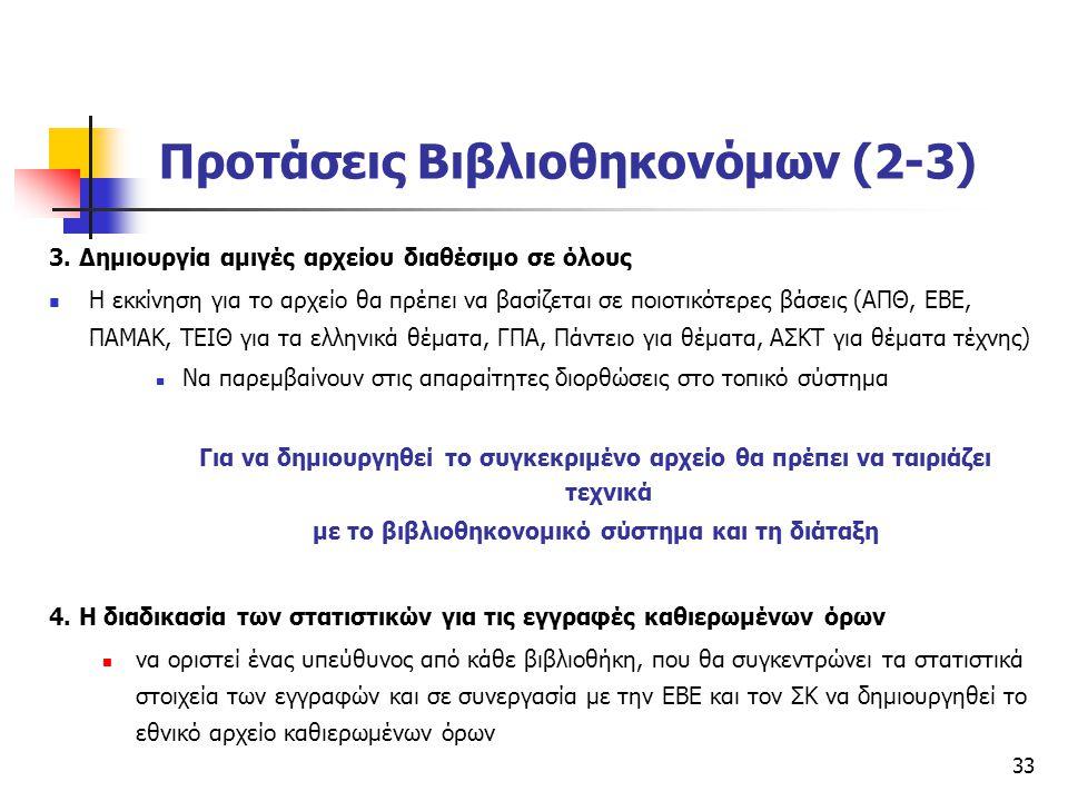 33 Προτάσεις Βιβλιοθηκονόμων (2-3) 3. Δημιουργία αμιγές αρχείου διαθέσιμο σε όλους H εκκίνηση για το αρχείο θα πρέπει να βασίζεται σε ποιοτικότερες βά