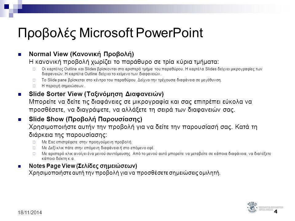 Προβολές Microsoft PowerPoint Normal View (Κανονική Προβολή) Η κανονική προβολή χωρίζει το παράθυρο σε τρία κύρια τμήματα:  Οι καρτέλες Outline και S