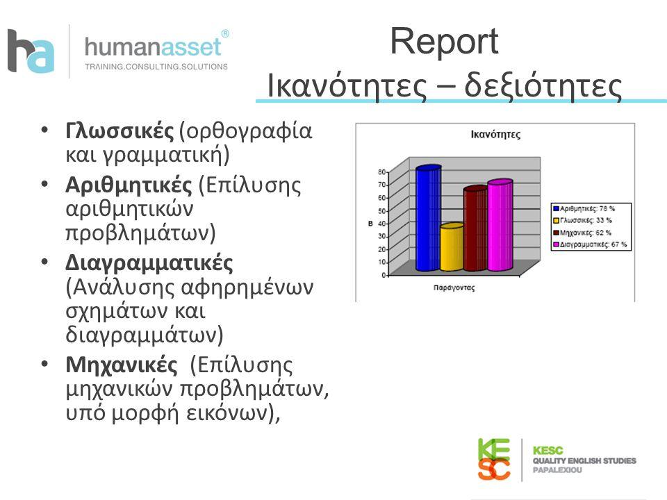 Report Ικανότητες – δεξιότητες Γλωσσικές (ορθογραφία και γραμματική) Αριθμητικές (Επίλυσης αριθμητικών προβλημάτων) Διαγραμματικές (Ανάλυσης αφηρημένω