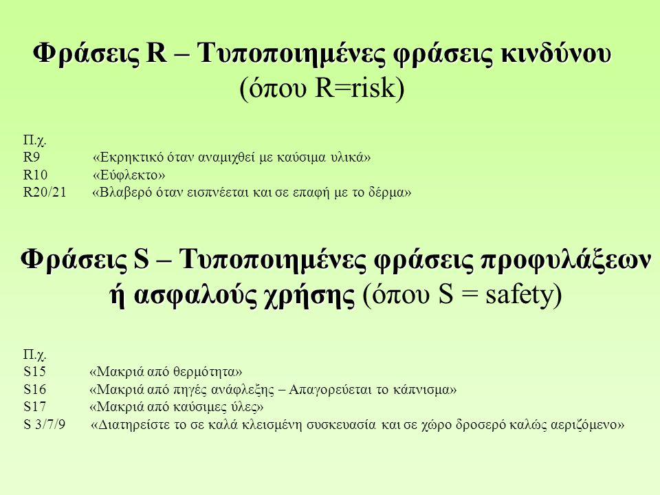 Φράσεις R – Τυποποιημένες φράσεις κινδύνου Φράσεις R – Τυποποιημένες φράσεις κινδύνου (όπου R=risk) Π.χ. R9 «Εκρηκτικό όταν αναμιχθεί με καύσιμα υλικά