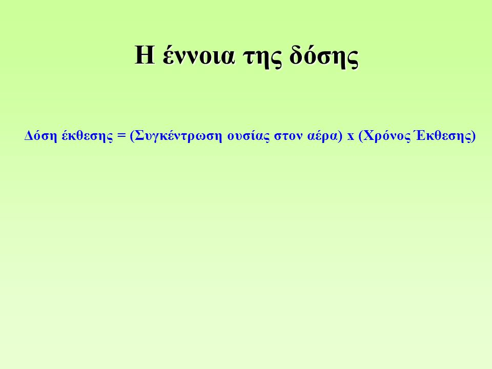 Δόση έκθεσης = (Συγκέντρωση ουσίας στον αέρα) x (Χρόνος Έκθεσης) Η έννοια της δόσης
