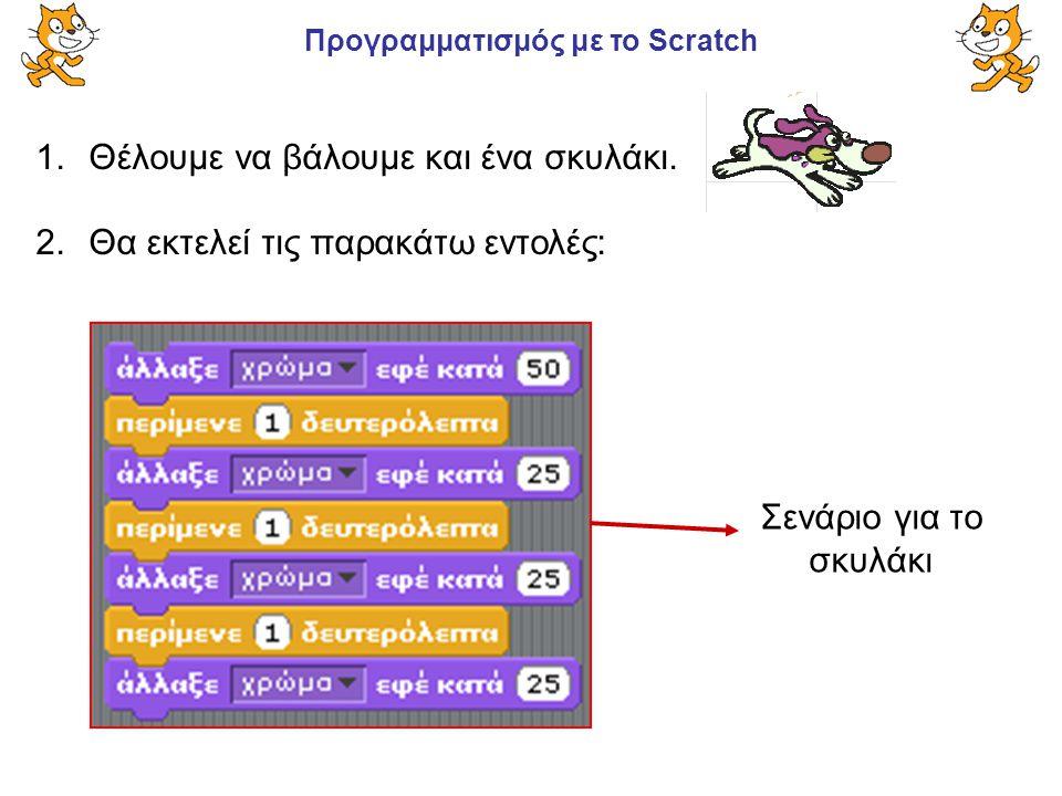 Προγραμματισμός με το Scratch 1.Θέλουμε να βάλουμε και ένα σκυλάκι. 2.Θα εκτελεί τις παρακάτω εντολές: Σενάριο για το σκυλάκι