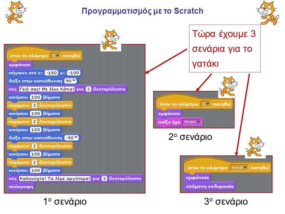 Προγραμματισμός με το Scratch 1 ο σενάριο 2 ο σενάριο Τώρα έχουμε 3 σενάρια για το γατάκι 3 ο σενάριο