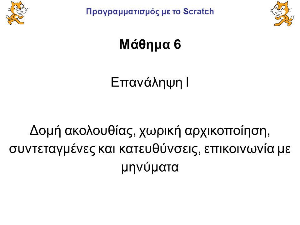 Προγραμματισμός με το Scratch Επανάληψη I Μάθημα 6 Δομή ακολουθίας, χωρική αρχικοποίηση, συντεταγμένες και κατευθύνσεις, επικοινωνία με μηνύματα