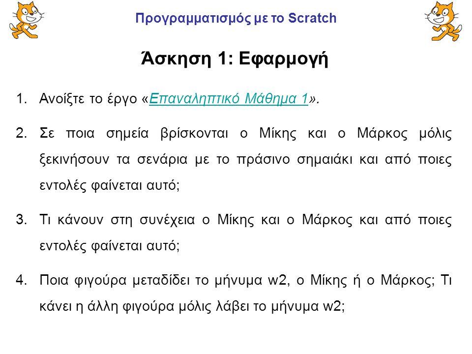 Προγραμματισμός με το Scratch 1.Ανοίξτε το έργο «Επαναληπτικό Μάθημα 1».Επαναληπτικό Μάθημα 1 2.Σε ποια σημεία βρίσκονται ο Μίκης και ο Μάρκος μόλις ξ