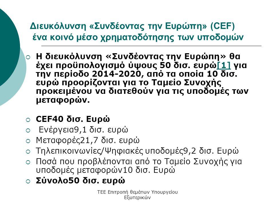 ΤΕΕ Επιτροπή θεμάτων Υπουργείου Εξωτερικών Διευκόλυνση «Συνδέοντας την Ευρώπη» (CEF) ένα κοινό μέσο χρηματοδότησης των υποδομών  Η διευκόλυνση «Συνδέοντας την Ευρώπη» θα έχει προϋπολογισμό ύψους 50 δισ.