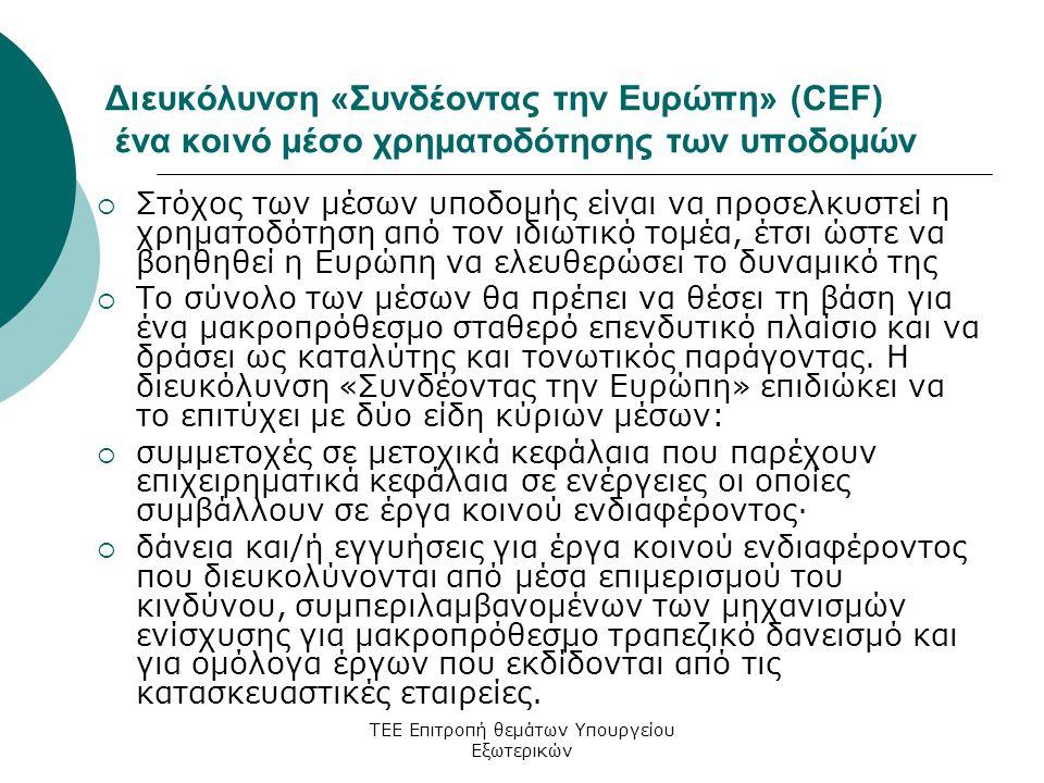 ΤΕΕ Επιτροπή θεμάτων Υπουργείου Εξωτερικών Διευκόλυνση «Συνδέοντας την Ευρώπη» (CEF) ένα κοινό μέσο χρηματοδότησης των υποδομών  Στόχος των μέσων υποδομής είναι να προσελκυστεί η χρηματοδότηση από τον ιδιωτικό τομέα, έτσι ώστε να βοηθηθεί η Ευρώπη να ελευθερώσει το δυναμικό της  Το σύνολο των μέσων θα πρέπει να θέσει τη βάση για ένα μακροπρόθεσμο σταθερό επενδυτικό πλαίσιο και να δράσει ως καταλύτης και τονωτικός παράγοντας.