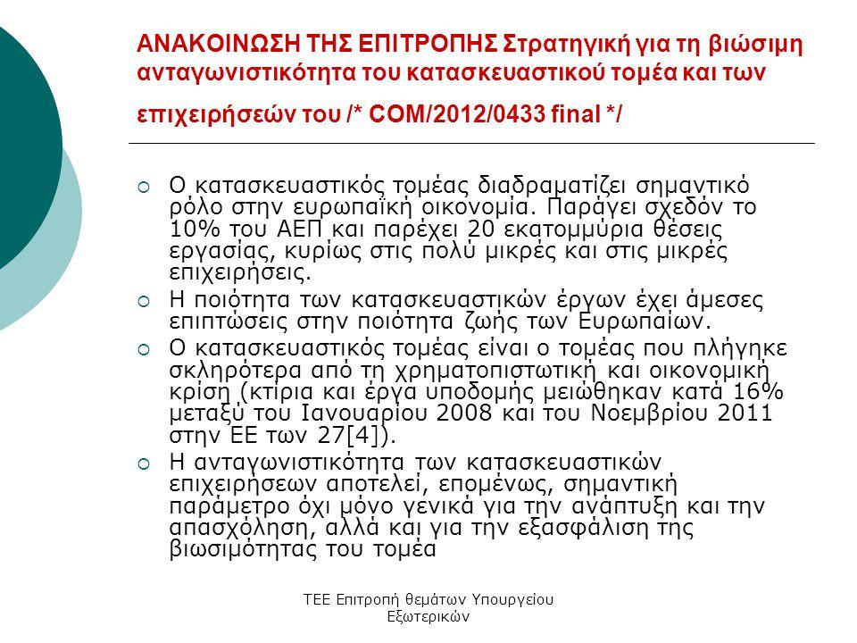ΤΕΕ Επιτροπή θεμάτων Υπουργείου Εξωτερικών ΑΝΑΚΟΙΝΩΣΗ ΤΗΣ ΕΠΙΤΡΟΠΗΣ Στρατηγική για τη βιώσιμη ανταγωνιστικότητα του κατασκευαστικού τομέα και των επιχειρήσεών του /* COM/2012/0433 final */  Ο κατασκευαστικός τομέας διαδραματίζει σημαντικό ρόλο στην ευρωπαϊκή οικονομία.