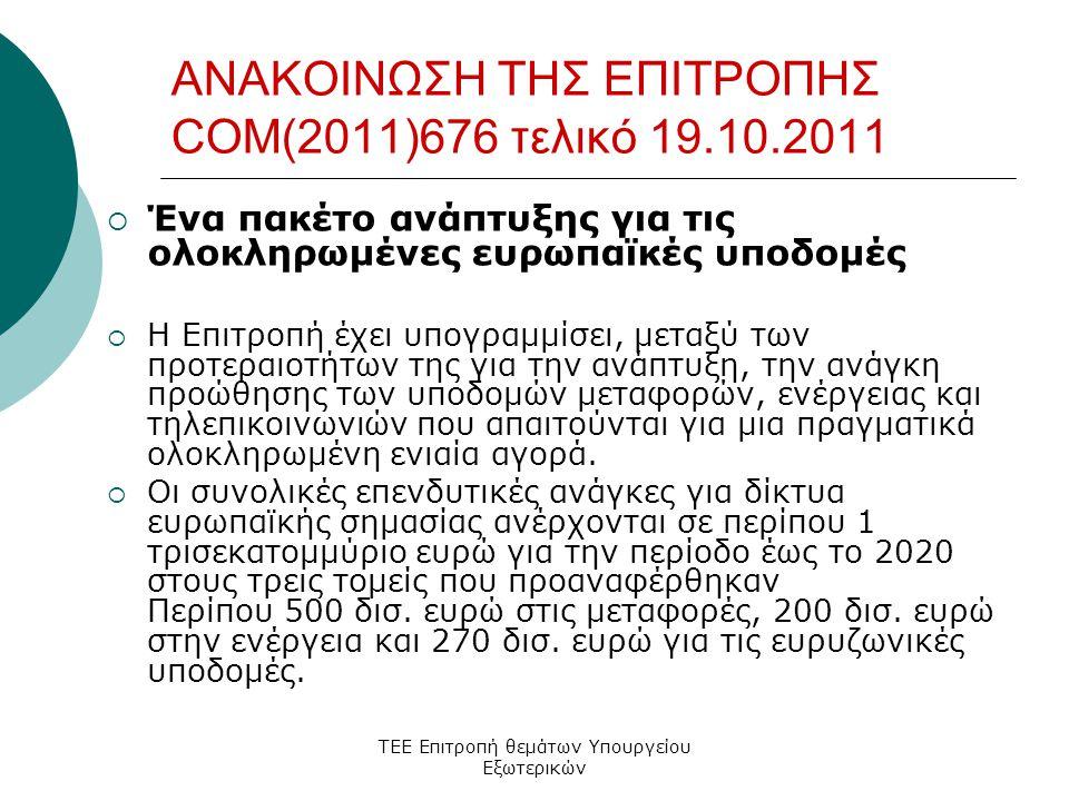 ΤΕΕ Επιτροπή θεμάτων Υπουργείου Εξωτερικών ΑΝΑΚΟΙΝΩΣΗ ΤΗΣ ΕΠΙΤΡΟΠΗΣ COM(2011)676 τελικό 19.10.2011  Ένα πακέτο ανάπτυξης για τις ολοκληρωμένες ευρωπαϊκές υποδομές  Η Επιτροπή έχει υπογραμμίσει, μεταξύ των προτεραιοτήτων της για την ανάπτυξη, την ανάγκη προώθησης των υποδομών μεταφορών, ενέργειας και τηλεπικοινωνιών που απαιτούνται για μια πραγματικά ολοκληρωμένη ενιαία αγορά.