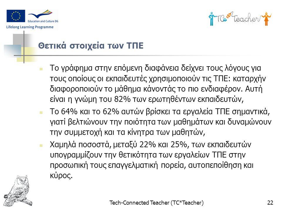 Tech-Connected Teacher (TC*Teacher)22 Θετικά στοιχεία των ΤΠΕ Το γράφημα στην επόμενη διαφάνεια δείχνει τους λόγους για τους οποίους οι εκπαιδευτές χρ