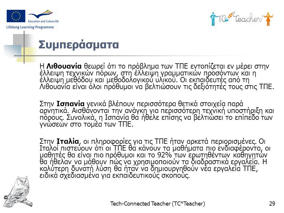 Tech-Connected Teacher (TC*Teacher)29 Συμπεράσματα Η Λιθουανία θεωρεί ότι το πρόβλημα των ΤΠΕ εντοπίζεται εν μέρει στην έλλειψη τεχνικών πόρων, στη έλλειψη γραμματικών προσόντων και η έλλειψη μεθόδου και μεθοδολογικού υλικού.