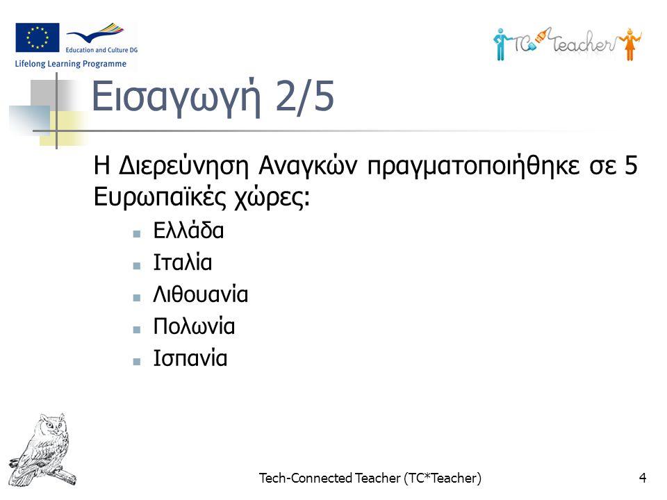 Tech-Connected Teacher (TC*Teacher)4 Εισαγωγή 2/5 Η Διερεύνηση Αναγκών πραγματοποιήθηκε σε 5 Ευρωπαϊκές χώρες: Ελλάδα Ιταλία Λιθουανία Πολωνία Ισπανία