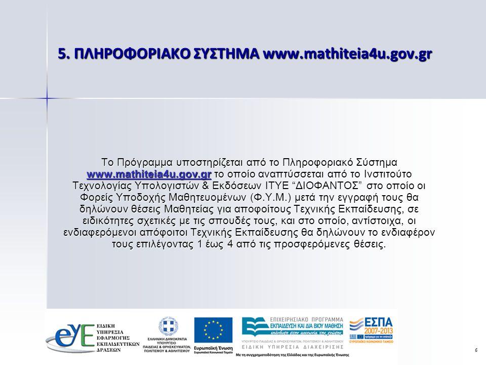 6 5. ΠΛΗΡΟΦΟΡΙΑΚΟ ΣΥΣΤΗΜΑ www.mathiteia4u.gov.gr Το Πρόγραμμα υποστηρίζεται από το Πληροφοριακό Σύστημα www.mathiteia4u.gov.gr το οποίο αναπτύσσεται α