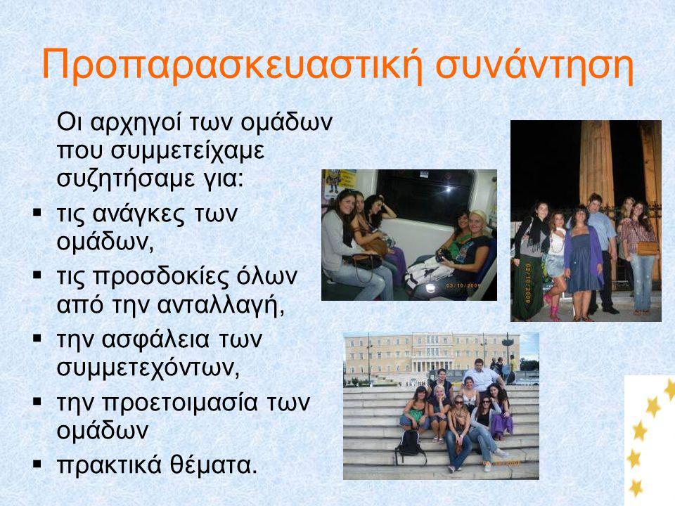 Προπαρασκευαστική συνάντηση Οι αρχηγοί των ομάδων που συμμετείχαμε συζητήσαμε για:  τις ανάγκες των ομάδων,  τις προσδοκίες όλων από την ανταλλαγή,