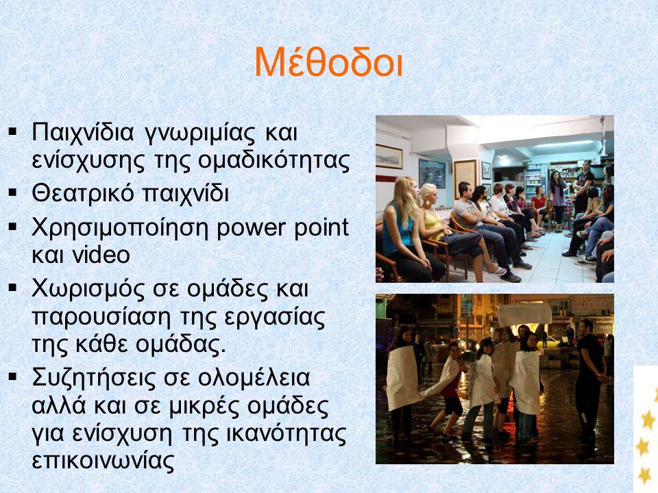 Μέθοδοι  Παιχνίδια γνωριμίας και ενίσχυσης της ομαδικότητας  Θεατρικό παιχνίδι  Χρησιμοποίηση power point και video  Χωρισμός σε ομάδες και παρουσ