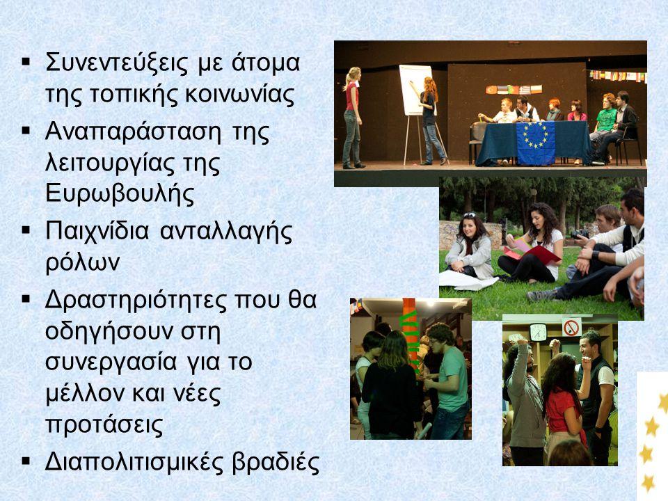  Συνεντεύξεις με άτομα της τοπικής κοινωνίας  Αναπαράσταση της λειτουργίας της Ευρωβουλής  Παιχνίδια ανταλλαγής ρόλων  Δραστηριότητες που θα οδηγή