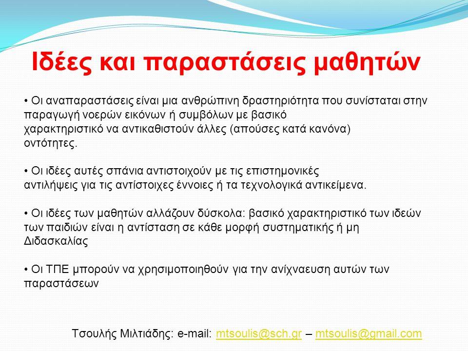 Tσουλής Μιλτιάδης: e-mail: mtsoulis@sch.gr – mtsoulis@gmail.commtsoulis@sch.grmtsoulis@gmail.com Οι αναπαραστάσεις είναι μια ανθρώπινη δραστηριότητα π