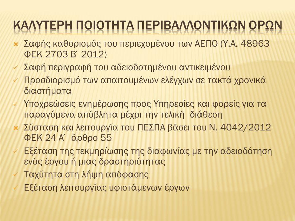  Σαφής καθορισμός του περιεχομένου των ΑΕΠΟ (Υ.Α. 48963 ΦΕΚ 2703 Β΄2012) Σαφή περιγραφή του αδειοδοτημένου αντικειμένου Προσδιορισμό των απαιτουμένων