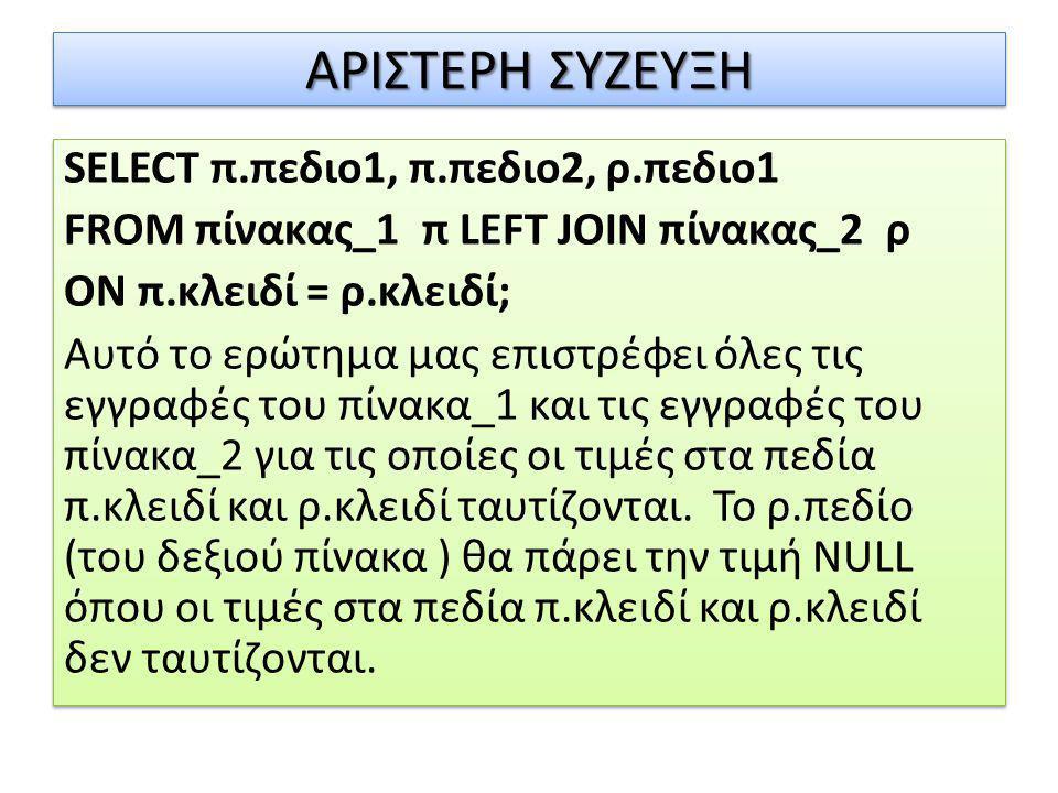 SELECT π.πεδιο1, π.πεδιο2, ρ.πεδιο1 FROM πίνακας_1 π LEFT JOIN πίνακας_2 ρ ON π.κλειδί = ρ.κλειδί; Αυτό το ερώτημα μας επιστρέφει όλες τις εγγραφές το