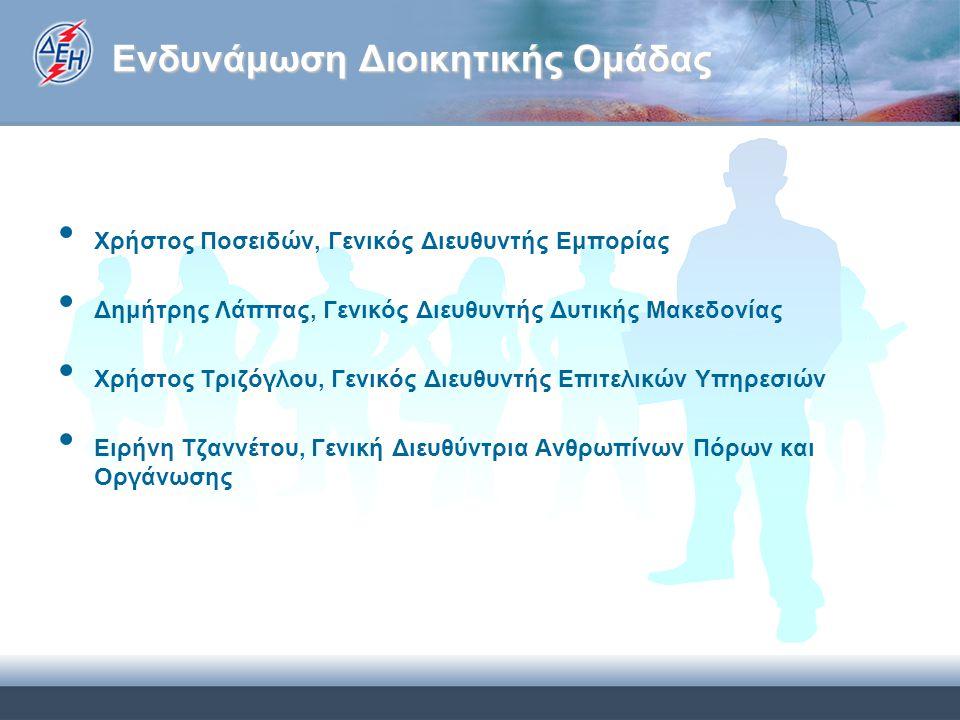 Ενδυνάμωση Διοικητικής Ομάδας Χρήστος Ποσειδών, Γενικός Διευθυντής Εμπορίας Δημήτρης Λάππας, Γενικός Διευθυντής Δυτικής Μακεδονίας Χρήστος Τριζόγλου, Γενικός Διευθυντής Επιτελικών Υπηρεσιών Ειρήνη Τζαννέτου, Γενική Διευθύντρια Ανθρωπίνων Πόρων και Οργάνωσης
