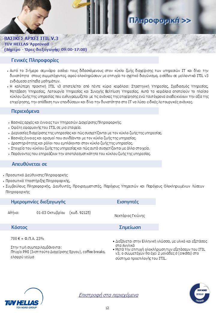 12 ΒΑΣΙΚΕΣ ΑΡΧΕΣ ITIL V.3 TUV HELLAS Approved (3ήμερο - Ώρες διεξαγωγής: 09:00-17:00) Αθήνα:01-03 Οκτωβρίου (κωδ.