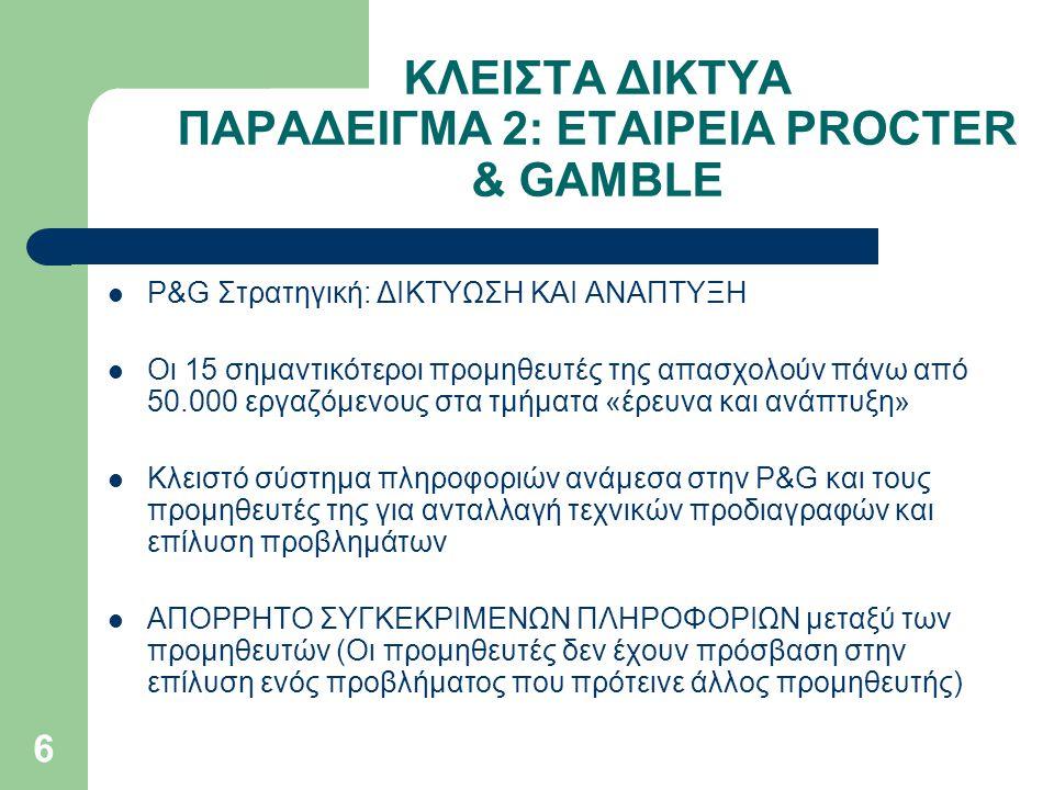 6 ΚΛΕΙΣΤΑ ΔΙΚΤΥΑ ΠΑΡΑΔΕΙΓΜΑ 2: ΕΤΑΙΡΕΙΑ PROCTER & GAMBLE P&G Στρατηγική: ΔΙΚΤΥΩΣΗ ΚΑΙ ΑΝΑΠΤΥΞΗ Οι 15 σημαντικότεροι προμηθευτές της απασχολούν πάνω απ