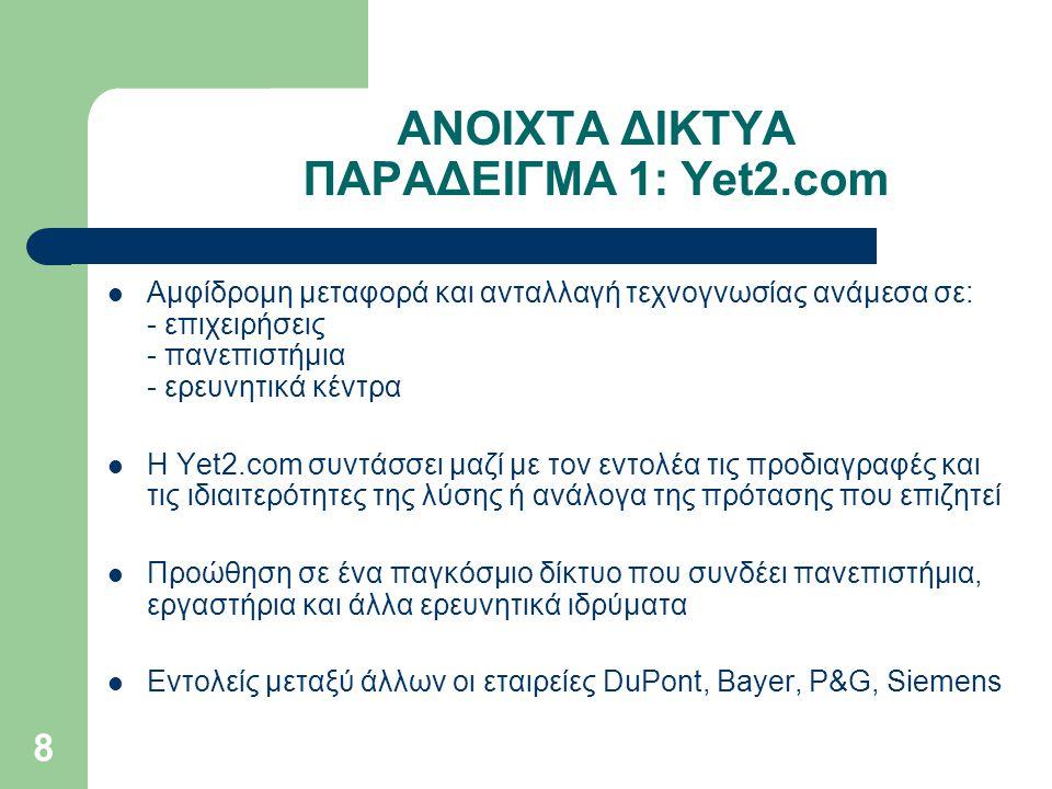 8 ΑΝΟΙΧΤΑ ΔΙΚΤΥΑ ΠΑΡΑΔΕΙΓΜΑ 1: Yet2.com Αμφίδρομη μεταφορά και ανταλλαγή τεχνογνωσίας ανάμεσα σε: - επιχειρήσεις - πανεπιστήμια - ερευνητικά κέντρα Η