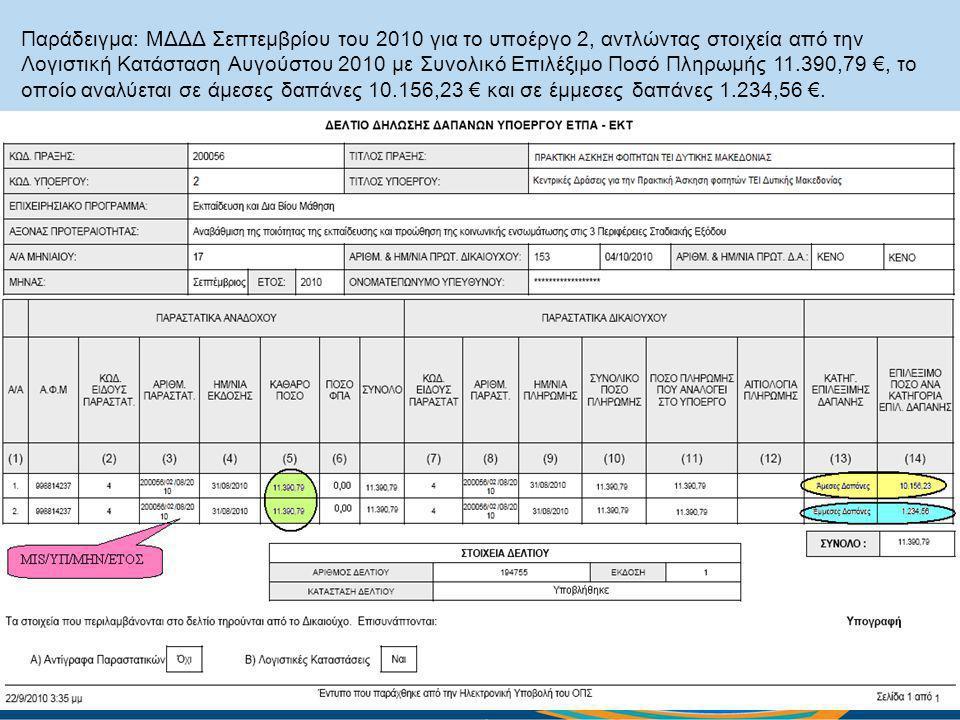 Παράδειγμα: ΜΔΔΔ Σεπτεμβρίου του 2010 για το υποέργο 2, αντλώντας στοιχεία από την Λογιστική Κατάσταση Αυγούστου 2010 με Συνολικό Επιλέξιμο Ποσό Πληρωμής 11.390,79 €, το οποίο αναλύεται σε άμεσες δαπάνες 10.156,23 € και σε έμμεσες δαπάνες 1.234,56 €.